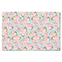 Pink Roses on Blue Polka Dots Door Mat - $37.99+