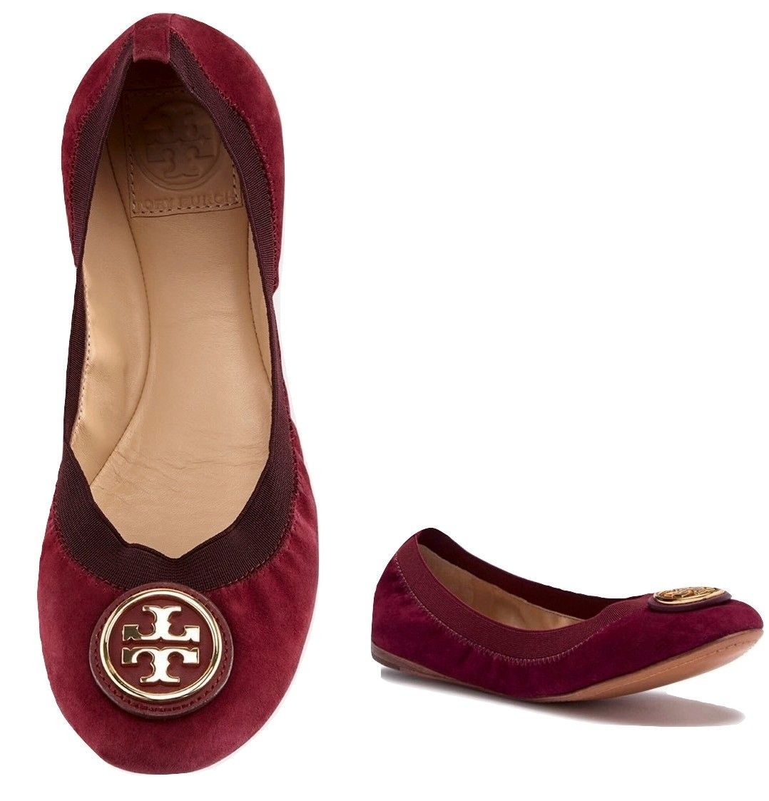 Tory Burch Caroline 2 Ballet Flat Shoes In Cabernet