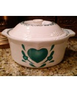 Corelle Green Hearts 2 Quart Casserole Dish with Lid Stoneware Strong-Ki... - $12.86
