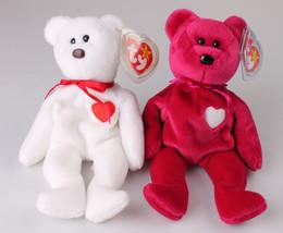RARE TY MISPELLED VALENTINO & VALENTINA MINT CONDITION SWING TAG BEANIE BABY SET image 1