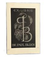 Ex Libris Exlibris Bookplate Dr. Paul Bloch Ernest Huber - $29.69
