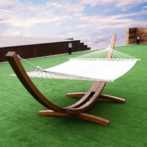 Hammock Outdoor Swing Wooden Stand Curved Arc Patio Garden Sturdy Solid ... - $269.94