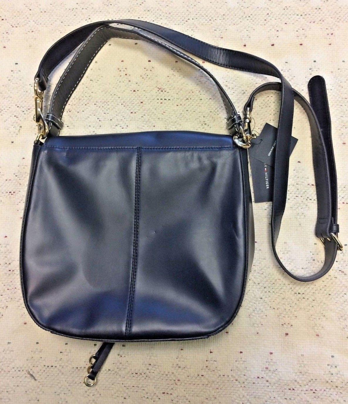 35c97715d18 ... NWT Tommy Hilfiger Star Hearts Deboss Honey Leather Messenger Purse  Handbag $198