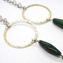 Silver 925 Necklace,Jade Green,Circles Yellow,100 cm, Rolo ' Hammered image 3