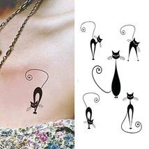 Oottati Small Cute Temporary Tattoo Kitten Cat Neck Hand Set of 2 - $6.99