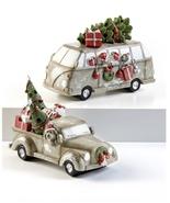 Christmas Vehicle w/Tree Figurine LED Truck Van Table Decor Beige  - $29.99