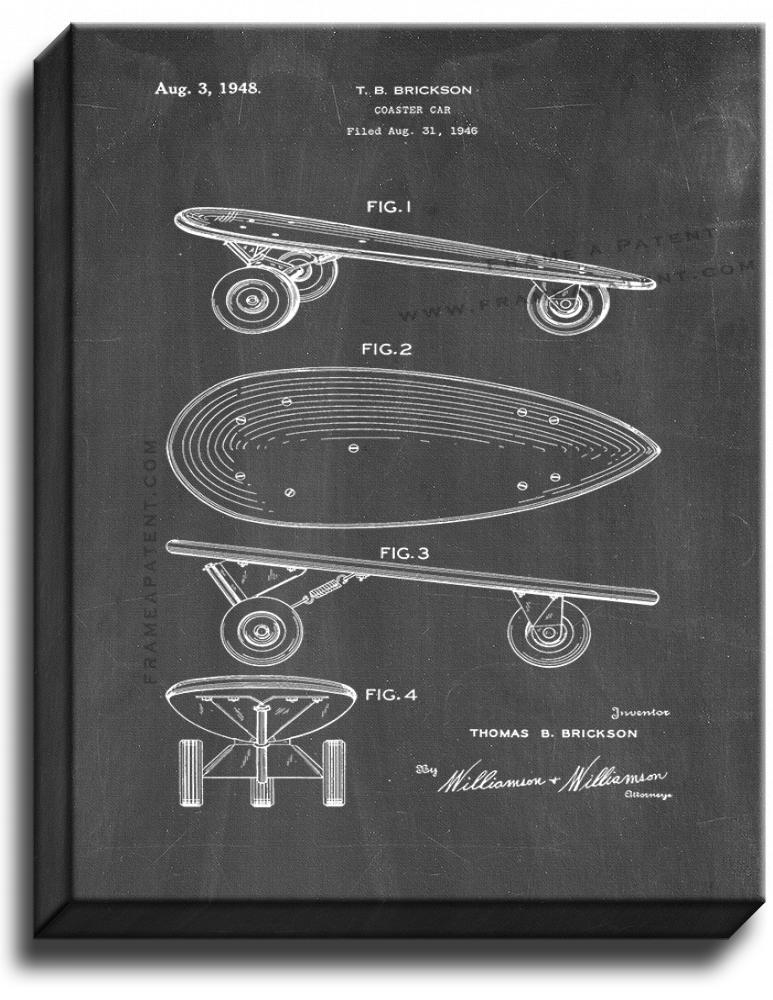 Primary image for Skateboard Patent Print Chalkboard on Canvas