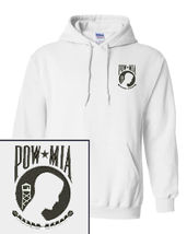 POW MIA LOGO EMBOIDERED WHITE HOODIE PULLOVER HOODED SWEATSHIRT NEW - $33.99