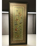 Vintage Framed Chinese Embroidered Silk Brocade Cherry Blossoms Great De... - $29.69