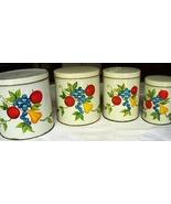 Set of 4 Vintage Kitchen Metal Cannisters, Fruit Motif - $65.00