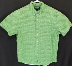Abercrombie and Fitch Men's Size Large Button Front Short Sleeve Green - $21.25
