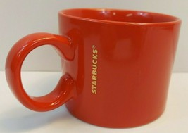 2017 Starbucks Coffee Cup Solid Red Tea Mug Gold Logo Wide 12 fl oz 354 ml - $4.94