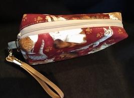 Clutch Bag/Wristlet/Makeup Bag - Cats on burgundy red background image 3