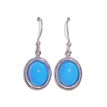 8x10mm Sleeping Beauty Turquoise Sterling Silver Drop Earrings - $41.99