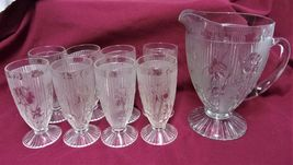 Jeanette Iris Pitcher and set of footed tumblers - $50.00