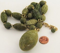 70's VINTAGE Jewelry MOD RETRO MOLDED PLASTIC BEAD ADJUSTABLE PENDANT NE... - $85.00