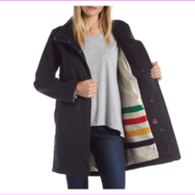 Pendleton Women's Water Resistant Cascade Charcoal Wool Campbell Coat Jacket M image 4