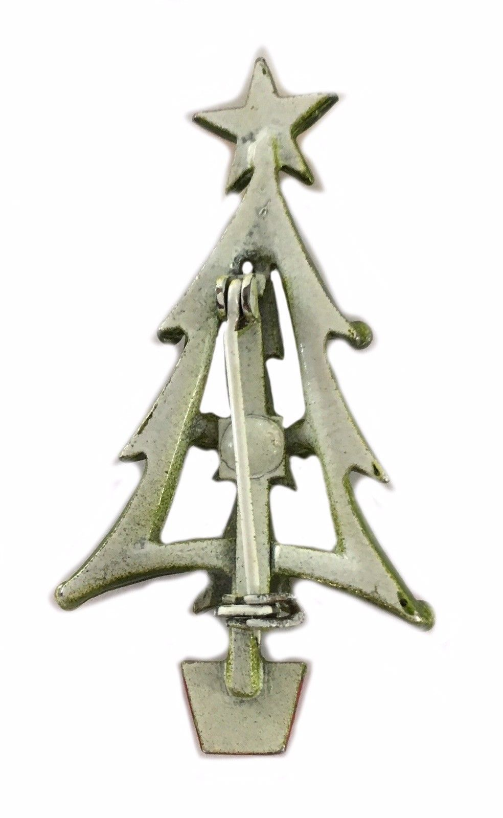 Vintage Christmas Tree Pin Brooch Holiday Jewelry Whimsical