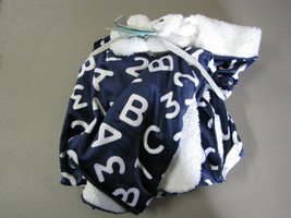 Just Born Baby Boy Navy Blue White Sherpa Valboa ABC 123 Letter Number Blanket - $59.37