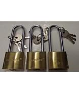 "Numark L264 4-1/4"" Brass Padlocks 3pcs. Keyed Differently - $8.91"