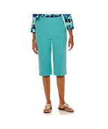 Alfred Dunner Sheeting Capris Turquoise Size 8 New - $16.99
