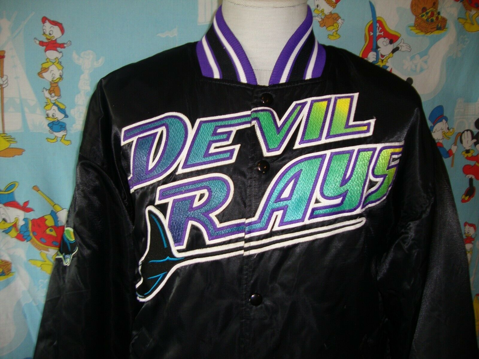 Primary image for Vintage 90's Tampa Bay Devil Rays Satin Starter Bomber Jacket XL