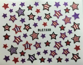 Nail Art 3D Decal Glitter Stickers Stars 4th of July Red White Purple BL... - $3.09