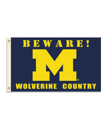 "Michigan Wolverines ""Beware Wolverine Country"" 3 Ft. X 5 Ft. Flag with G... - $35.95"