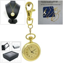 GOLD Vintage Antique Women Pendant Watch Quartz Gold Dial Necklace Key C... - $17.49