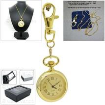 GOLD Vintage Antique Women Pendant Watch Quartz Gold Dial Necklace Key C... - $17.49