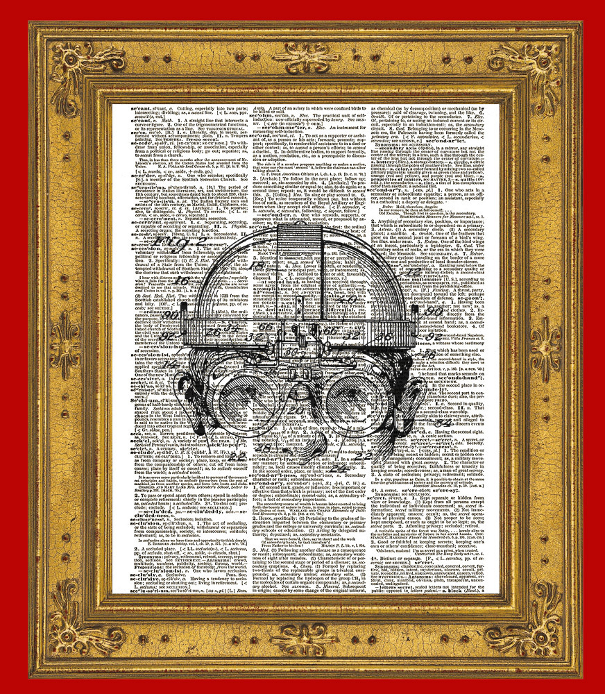 STEAMPUNK GOGGLES Diagram Vintage Dictionary Page Art Print No. 0099