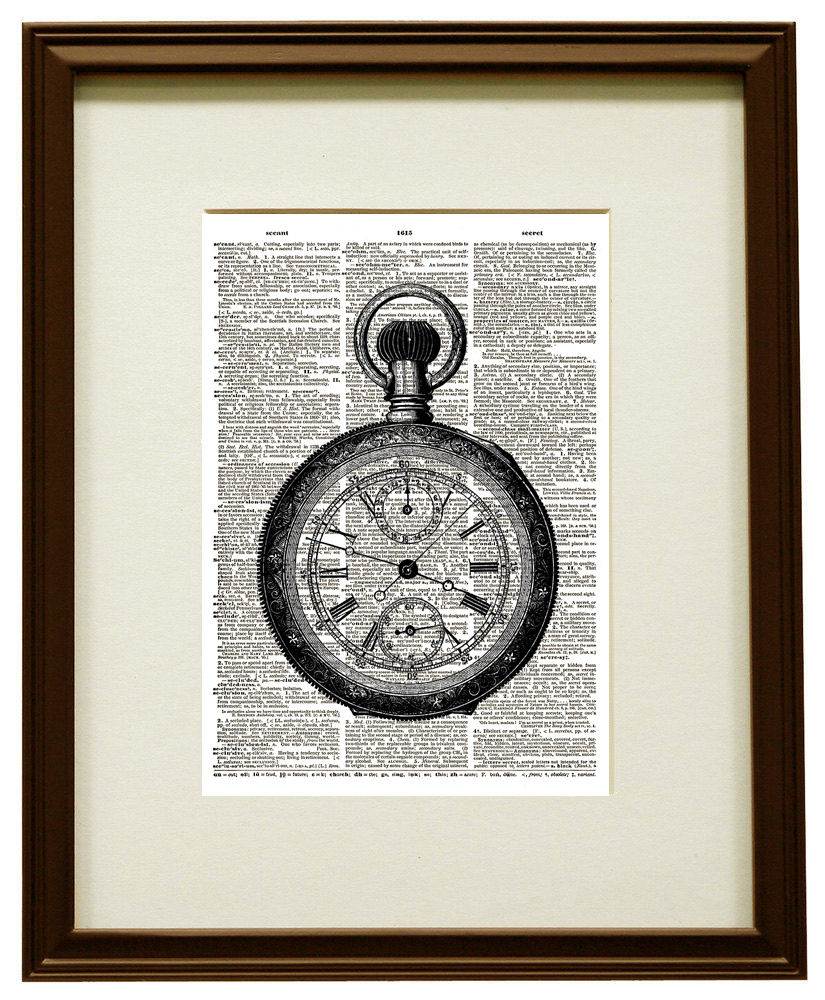 POCKET WATCH Vintage Timepiece Vintage Dictionary Art Print No. 0100