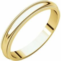Fine 10k Yellow Gold 3 mm High Polished Traditional Milgrain Wedding Rin... - $73.26+
