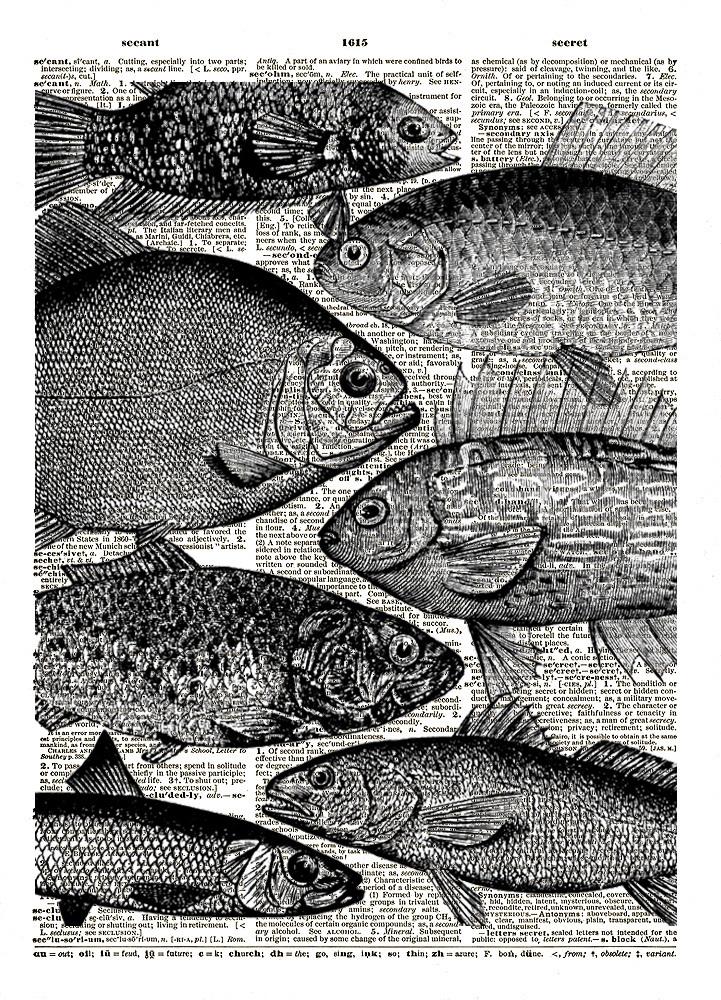 FISH HEADS Antique Artwork Vintage Dictionary Page Art Print No. 0104