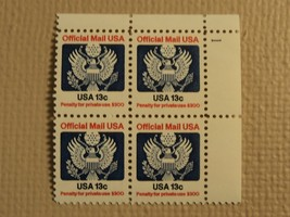USPS Scott O129 13c Official Mail USA 1983 Mint NH Plate Block 4 Stamps - $6.18