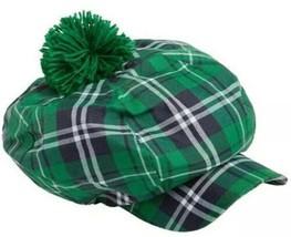 IRISH STYLE MEN'S FLAT CAP HAT Green Tartan PLAID GOLF Newsboy Cap Pom P... - $8.71