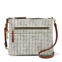 Fossil Fiona White W/Black PVC/Polyurethane Trim Large Zipper Closure Cr... - $239.99