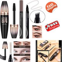 Eyebrow Tattoo Microblading Pencil Brow Gel Marker & 4D Silk Fiber Lash ... - $15.74