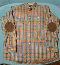 Polo Ralph Lauren Button Front Plaid Shirt Elbow Patches Mens Large Flannel - $29.03
