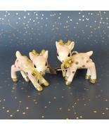 Target Wondershop Pink Deer Retro Fawn Ornament Pair Ceramic Gold Glitte... - $44.50