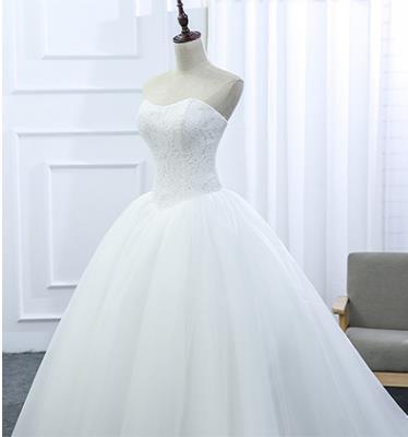 Lace Strapless Sleeveless White Satin Bridal Wedding Dress Wedding Ball Gown image 3