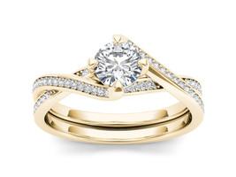 IGI Certified 14K Yellow Gold 1.00 Ct Diamond Bypass Solitaire Engagemen... - $1,470.49