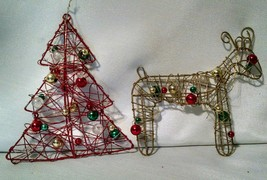 Wire And Beads Christmas Crafting Ornaments Deer Tree Lot Of Four - $4.49