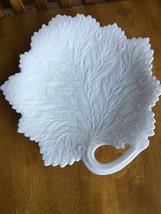 Milk Glass Maple Leaf Pattern Single Handled Serving Dish - $17.82