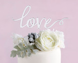Silver Mirror Love Cake Topper Wedding Cake Toppers Remantic Caketop Decorations