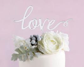 Silver Mirror Love Cake Topper Wedding Cake Toppers Remantic Caketop Dec... - $20.79