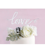Silver Mirror Love Cake Topper Wedding Cake Toppers Remantic Caketop Dec... - $20.79