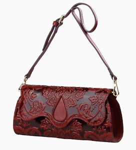 New Floral Embossed Italian Leather Crossbody Shoulder Bag Clutch Purse