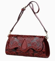 New Floral Embossed Italian Leather Crossbody Shoulder Bag Clutch Purse - $148.45