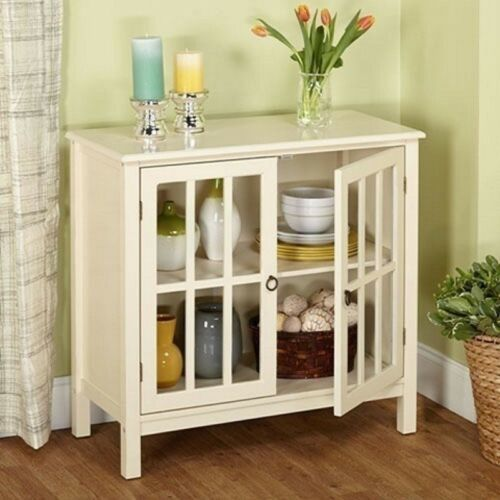 White Glass Door Buffet Sideboard China Storage Cabinet Server Curio Display image 2